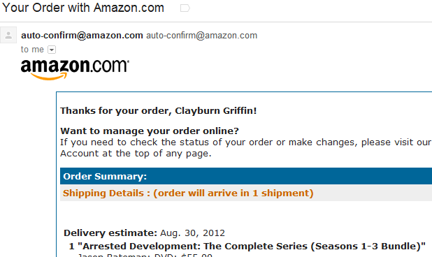 Amazon Order Confirmation